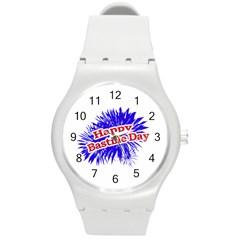 Happy Bastille Day Graphic Logo Round Plastic Sport Watch (M)