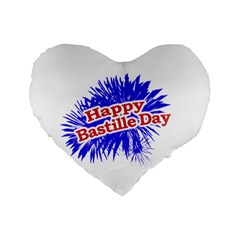 Happy Bastille Day Graphic Logo Standard 16  Premium Heart Shape Cushions
