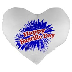 Happy Bastille Day Graphic Logo Large 19  Premium Heart Shape Cushions