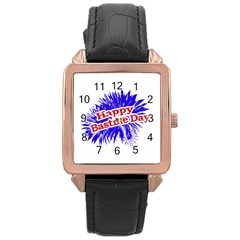 Happy Bastille Day Graphic Logo Rose Gold Leather Watch