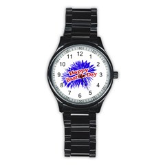 Happy Bastille Day Graphic Logo Stainless Steel Round Watch