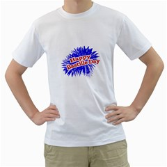 Happy Bastille Day Graphic Logo Men s T-Shirt (White)