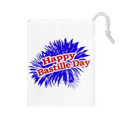Happy Bastille Day Graphic Logo Drawstring Pouches (Large)