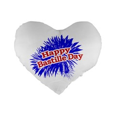 Happy Bastille Day Graphic Logo Standard 16  Premium Flano Heart Shape Cushions