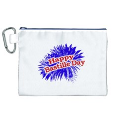 Happy Bastille Day Graphic Logo Canvas Cosmetic Bag (XL)