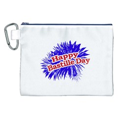Happy Bastille Day Graphic Logo Canvas Cosmetic Bag (XXL)