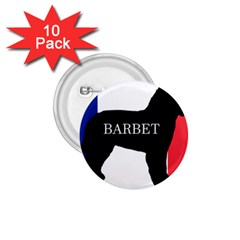 Barbet Name Silhouette on flag 1.75  Buttons (10 pack)