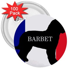Barbet Name Silhouette on flag 3  Buttons (100 pack)