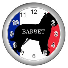 Barbet Name Silhouette on flag Wall Clocks (Silver)