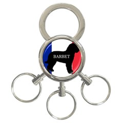 Barbet Name Silhouette on flag 3-Ring Key Chains