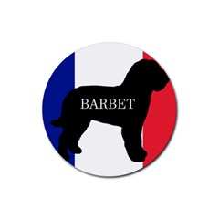 Barbet Name Silhouette on flag Rubber Round Coaster (4 pack)