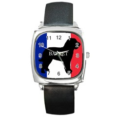 Barbet Name Silhouette on flag Square Metal Watch