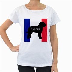 Barbet Name Silhouette on flag Women s Loose-Fit T-Shirt (White)