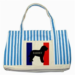 Barbet Name Silhouette on flag Striped Blue Tote Bag