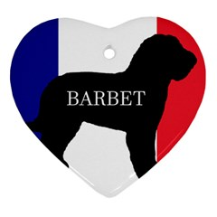 Barbet Name Silhouette on flag Heart Ornament (Two Sides)