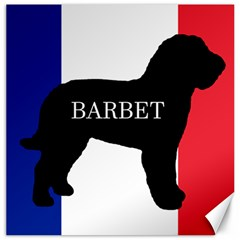 Barbet Name Silhouette on flag Canvas 12  x 12