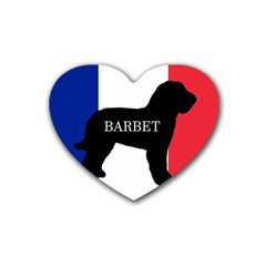 Barbet Name Silhouette on flag Heart Coaster (4 pack)