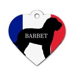 Barbet Name Silhouette on flag Dog Tag Heart (Two Sides)