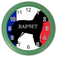 Barbet Name Silhouette on flag Color Wall Clocks