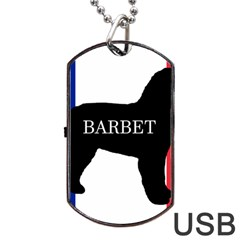 Barbet Name Silhouette on flag Dog Tag USB Flash (One Side)