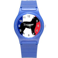 Barbet Name Silhouette on flag Round Plastic Sport Watch (S)