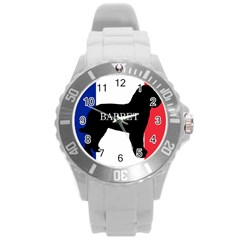 Barbet Name Silhouette on flag Round Plastic Sport Watch (L)
