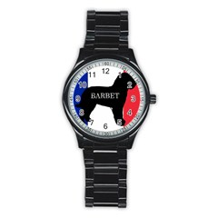 Barbet Name Silhouette on flag Stainless Steel Round Watch