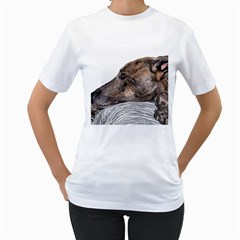 Greyhound Women s T-Shirt (White) (Two Sided)