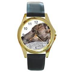 Greyhound Round Gold Metal Watch