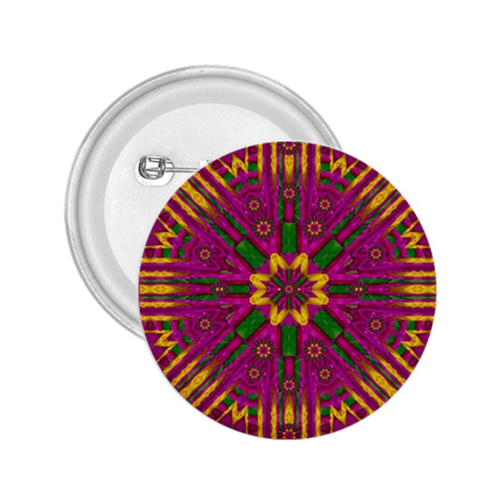 Feather Stars Mandala Pop Art 2.25  Buttons