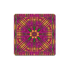Feather Stars Mandala Pop Art Square Magnet