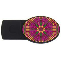 Feather Stars Mandala Pop Art Usb Flash Drive Oval (2 Gb)