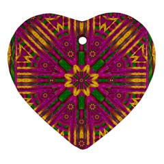 Feather Stars Mandala Pop Art Heart Ornament (Two Sides)