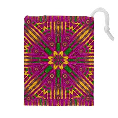 Feather Stars Mandala Pop Art Drawstring Pouches (Extra Large)