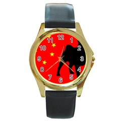 Pug China Flag Round Gold Metal Watch