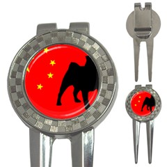 Pug China Flag 3-in-1 Golf Divots