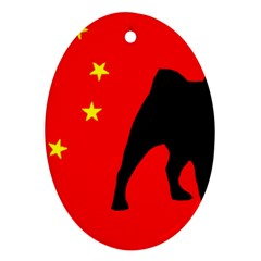 Pug China Flag Oval Ornament (Two Sides)