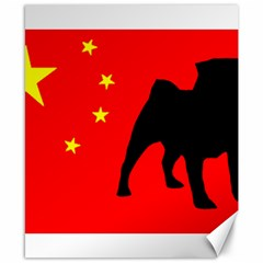 Pug China Flag Canvas 8  x 10
