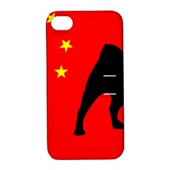 Pug China Flag Apple iPhone 4/4S Hardshell Case with Stand