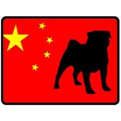 Pug China Flag Double Sided Fleece Blanket (Large)