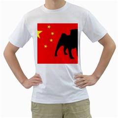 Pug China Flag Men s T-Shirt (White)