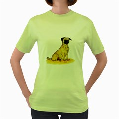 Pug Color Drawing Women s Green T-Shirt