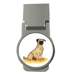 Pug Color Drawing Money Clips (Round)