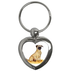 Pug Color Drawing Key Chains (Heart)