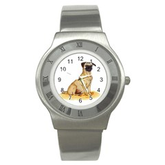Pug Color Drawing Stainless Steel Watch