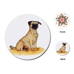 Pug Color Drawing Playing Cards (Round)