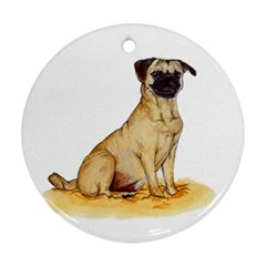 Pug Color Drawing Round Ornament (Two Sides)