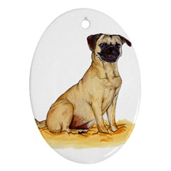 Pug Color Drawing Oval Ornament (Two Sides)