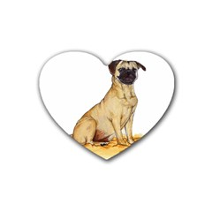 Pug Color Drawing Heart Coaster (4 pack)