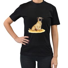 Pug Color Drawing Women s T-Shirt (Black)